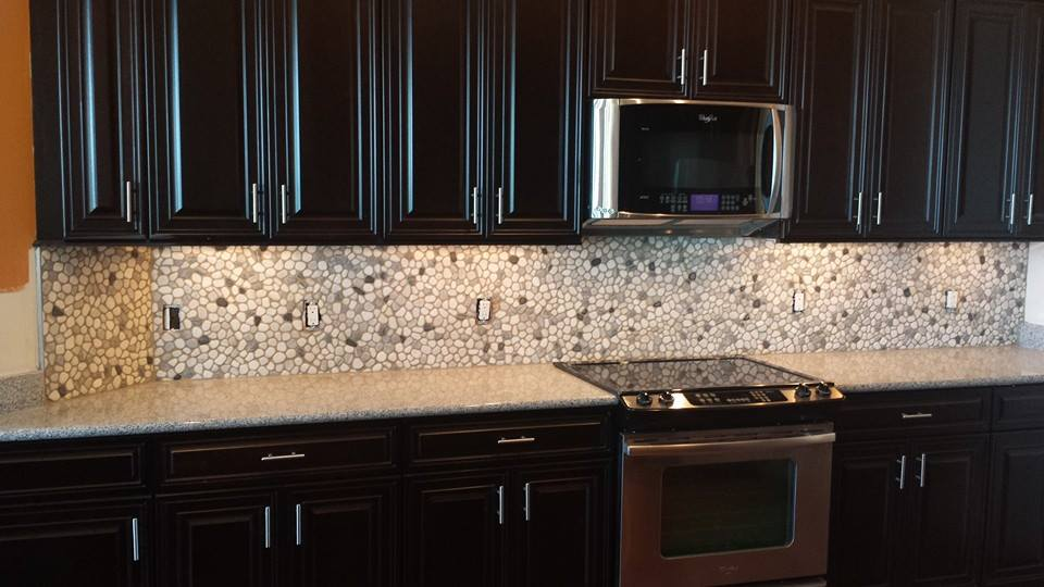 Pebble Tile Backsplash