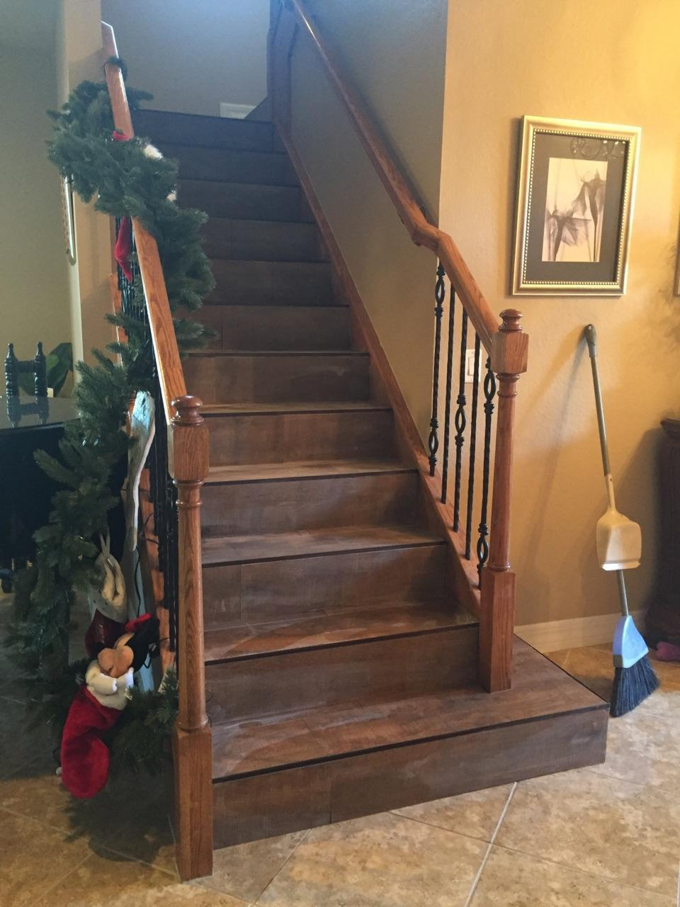 Wood tile on stairs