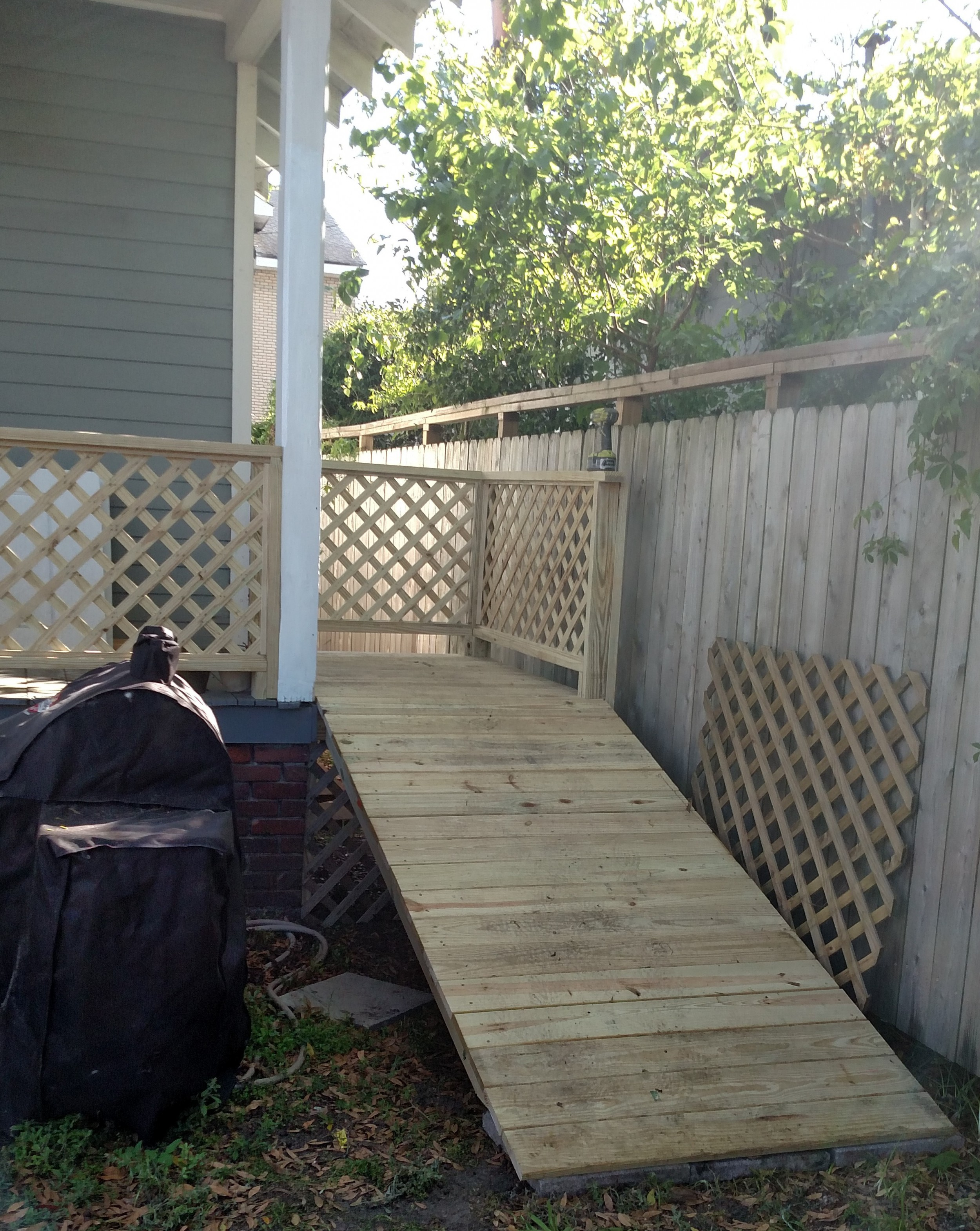 Banister and ramp for elderly dog.